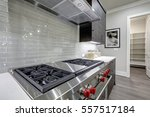 Stock photo modern gray kitchen features stainless steel stove with a hood paired with glossy gray linear tile 557517184