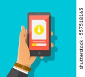 man's hand holding smartphone... | Shutterstock .eps vector #557518165