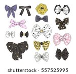 big fashion collection of bows. ... | Shutterstock .eps vector #557525995