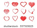 sketch drawn heart set. love... | Shutterstock .eps vector #557535025
