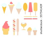 flat set ice cream  | Shutterstock .eps vector #557541439