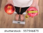 close up view of woman making... | Shutterstock . vector #557546875