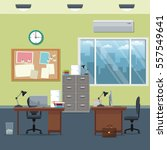 office workspace desks cabinet... | Shutterstock .eps vector #557549641