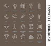 vector line icons of cricket... | Shutterstock .eps vector #557563039