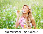 blonde starts soap bubbles in... | Shutterstock . vector #55756507
