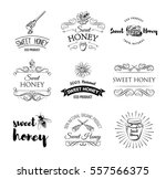 honey labels set. vintage... | Shutterstock .eps vector #557566375