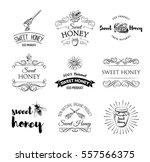 honey labels set. vintage... | Shutterstock .eps vector #557566375
