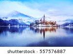 winter landscape bled lake.... | Shutterstock . vector #557576887