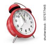 red alarm clock. 3d render of a ... | Shutterstock . vector #557577445