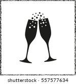 champagne glasses    black... | Shutterstock .eps vector #557577634