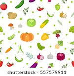 vegetables seamless pattern.... | Shutterstock .eps vector #557579911