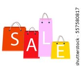 sale poster with shopping bags... | Shutterstock . vector #557580817