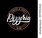 pizzeria hand written lettering ... | Shutterstock .eps vector #557591314