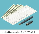 bank check with modern design.... | Shutterstock .eps vector #557596591