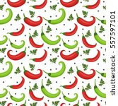 chili peppers seamless pattern. ... | Shutterstock .eps vector #557597101