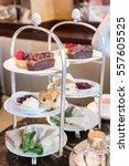 close up of afternoon tea set....   Shutterstock . vector #557605525