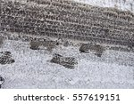 footprints in the snow shoes | Shutterstock . vector #557619151