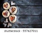 homemade jam cookies with heart ...   Shutterstock . vector #557627011