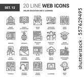 vector set of online education... | Shutterstock .eps vector #557629495