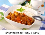 japanese curry rice with meat,carrot,onion and potato - stock photo