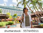 Cruise Boat Tourist At Port Of...