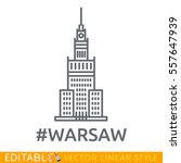 warsaw. palace of culture and... | Shutterstock .eps vector #557647939