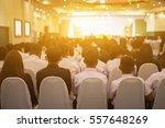 student listening to speaker... | Shutterstock . vector #557648269