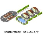 vector isometric country house... | Shutterstock .eps vector #557653579