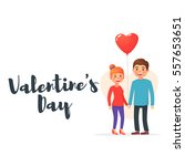 valentine's day. cute couple.... | Shutterstock .eps vector #557653651