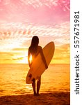 beach sunset sexy surfer woman... | Shutterstock . vector #557671981