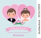 invitation card on wedding... | Shutterstock .eps vector #557673595
