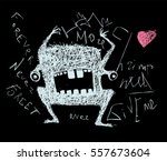 scribble doodle scary monster... | Shutterstock .eps vector #557673604