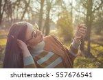 young beautiful girl posing in... | Shutterstock . vector #557676541