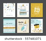 set of birthday greeting cards | Shutterstock .eps vector #557681071
