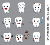 cute tooth cartoon collection... | Shutterstock .eps vector #557681074