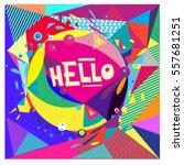 vector retro geometrical... | Shutterstock .eps vector #557681251