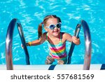 happy laughing little girl... | Shutterstock . vector #557681569