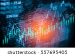 Small photo of Stock market indicator and finance data view from LED. Double exposure finance chart and stock market indicator. Stock education or marketing analysis concept. Abstract finance indicator background.
