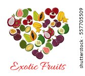 fruit heart of exotic fruits... | Shutterstock .eps vector #557705509