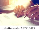 man calculate cost and expenses ... | Shutterstock . vector #557713429