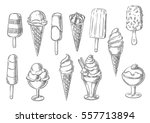 ice cream icons of frozen... | Shutterstock .eps vector #557713894