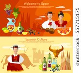 welcome to spain banner.... | Shutterstock .eps vector #557715175
