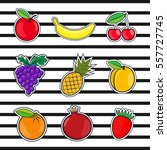 collection fruits icons in a... | Shutterstock .eps vector #557727745