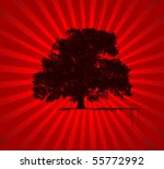 Vector Tree With Red Star Burs...