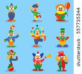 circus clown cute characters... | Shutterstock .eps vector #557735344