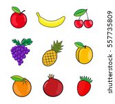 collection fruits icons in flat ... | Shutterstock .eps vector #557735809