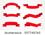 ribbon banner set.red ribbons... | Shutterstock .eps vector #557740765