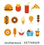 junk food pixel vector... | Shutterstock .eps vector #557749429