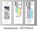 roll up banner stands  flat... | Shutterstock .eps vector #557750425