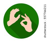 Sign Language Icon In Flat...
